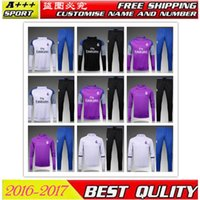 Wholesale Soccer Tracksuit Free Shipping - TOP 2016-2017 new real madrid soccer jersey training suits Uniforms football tracksuit Survetement long sleeve training suit free shipping