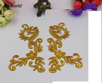 Wholesale YACKALASI Pairs Iron on Appliqued Mirror Pair D Embroidered Costume Cosplay Flower Patches Gold and Silver Trims cm