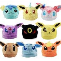 Wholesale Hat For Toy - Poke plush Hat Pocket pikachu plush caps for kids 9 designs Sylveon Cosplay Soft Cute Plush Toy Cap Warm Soft Hat KKA2186