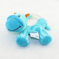 Wholesale Baby Zebra Stuff - Wholesale- hot sell 12.5cm plush toy stuffed doll baby rattle ringing bed toys zebra blue color beads hand ringing bell for infant kids