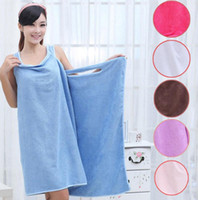 Wholesale shower robes - Magic Bath Towels Lady Girls SPA Shower Towel Body Wrap Bath Robe Bathrobe Beach Dress Wearable Magic Towel 9 color KKA1584