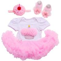 Wholesale Baby Clothes Cupcakes - Wholesale- Cupcake vestido de batizado baby Girl party dress,Baby Chiffon Headband clothes infant girls Shoes Set Cupcake Outfit