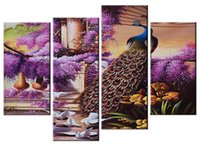 Wholesale Large Peacock Wall Art - YIJIAHE Landscape Print Canvas Painting Art Peacock 4 Piece Canvas Art Wall Pictures for Living Room Large Framed Wall Art DW312