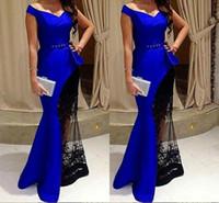 vestido de piso perfeito venda por atacado-Perfeito Sash Lace Sereia Com Decote Em V Vestidos de Noite Azul Cabido Andar de Comprimento 2018 Pageant Party Dress Prom Formal Vestidos de Celebridades