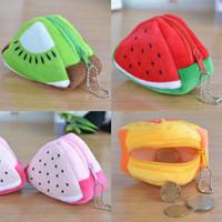 Wholesale Stereoscopic Bag - Stereoscopic Triangle Fidget Spinner Packaging Bag Buggy Bag 3D Fruit Plush Handbag MINI Coin Purses Zipper Key Headphone Holder Bags