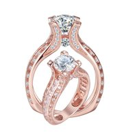 Wholesale Solid Rose Gold Engagement Ring - Promotion Rose Gold Plated Solid 925 Sterling Silver Wedding Ring Engagement Bands AAA CZ Classic Jewelry Free Shipping