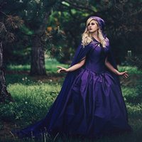 Wholesale Custom Renaissance Dresses - Vintage Purple Gothic Ball Gown Wedding Dresses With Cloak Removable Long Sleeve Plus Size 2018 Renaissance Celtic Medieval Bridal Gowns
