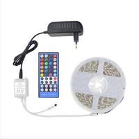 Wholesale Led 12v 75w - 5M 300led 5050 SMD RGBW RGBWW Led tape Light DC12V waterproof Led Flexible Strip Lights+40 Keys Led IR Controller+12V 3A Power Adapter