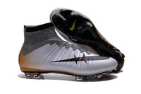Wholesale Cr7 Cleat Box - With Box Wholesale Mercurial Superfly FG Soccer Shoes High Ankle Football Boots ACC Men Outdoor Superfly CR7 Cleats With Free Bag And Socks