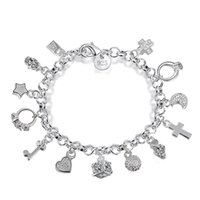 Wholesale Cheap Gemstone Jewelry Sets - best gift cheap wholesale Free Shipping hot 925 Sterling Silver CZ Crystal gemstone fashion jewelry cross moon charms Wedding bracelet