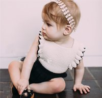 Wholesale Ruffles Strap Romper - 2017 New Baby Girls Clothes Rompers Ruffle Edged Bib Adjustable Straps With Horn Button Closure Princess Girl Sweet Knitted Infant Romper