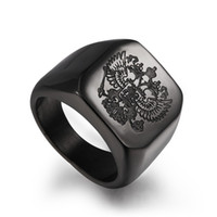 Wholesale Wholesale Russian Rings - HOT! 2017 Stainless Steel Rings Luxury Square Big Simple Russian Badge Gold Silver Plated Mens rings Business Type Fashion Jewelry Wholesale