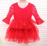 Wholesale American Pageant Dresses - Christmas party dresses new Girls lace falbala sleeve tulle tutu dress kids lace long sleeve princess dress Children Pageant Dress A0145