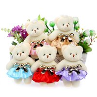Wholesale Purple Teddy Bear Flowers - Wholesale- Flower Bouquets Teddy Bear Mini Small Wedding Gift Plush Toys Red pink blue coffee purple Mixed Color 10pcs lot Toys