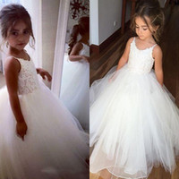 Wholesale Christening Gowns For Toddler Girls - Ivory Flower Girls Dresses For Weddings Tulle Lace Top Spaghetti Formal Kids Wear For Party Communion Dress Tulle Cheap Toddler Pgeant Gowns