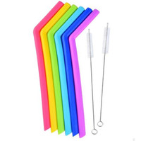 Wholesale Wholesale Drinking Cups Straws - Hot ! Colored Food Grade Silicone Straw for 20oz 30oz cup Silica Gel Drinking Straw with brush