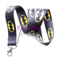 Wholesale Mobie Phones - Hot 30pcs Hero Batman Lanyard Cartoon Bat Logo Neck Lanyard For Key chains ID Neck Strap Holder Mobie Phone Charms