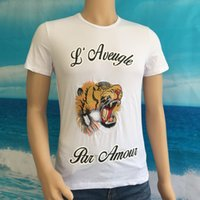 Wholesale Yellow Dog Clothes - Luxury Brand clothing blind for love t shirt fashion embroidery tiger dog t shirt casual short sleeve summer men hip hop tops tee