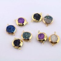 Wholesale Drusy Connectors - New Arrival! 10Pcs Gold Color Round Druzy Titanium Drusy Gem stone Connector, Beads For Jewelry Making