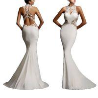Wholesale Women S Pageant Dresses - Women Lace Bodycon Fishtail Evening Party Wedding Pageant Gown Long Maxi Dress