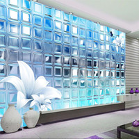 Wholesale Panel Mould - Wholesale- 3d wallpaper mural art decor picture backdrop Modern living room hotel restaurant silver mosaic squares painting mural panel