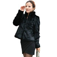 Wholesale Ladies Garment Fur Coat - 2016 New women fur coat Casual Short Design faux rabbit fur coat Lady Garment Plus Size Warm autumn Winter overcoat DX335