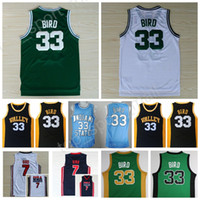 Wholesale Dream School - Cheap 33 Larry Bird Jersey Indiana State Sycamores Basketball Larry Bird College Jerseys 1992 USA Dream Team High School Green White