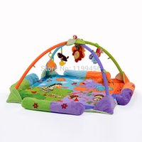 Wholesale Baby Playmats - Wholesale- Baby Toy Play Mat Twist and Fold Activity Gym Play Gym Playmats Soft Colorful Gymini Playmat with 8 Toys Soft 120*120cm