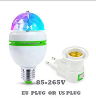 lámpara giratoria completa al por mayor-E27 3W Full Color Magic Ball 3W RGB Lámparas Led E27 Lampada Bombilla Led AC 85-265V 110V 220V Luces de escenario giratorias automáticas para DJ Party Show