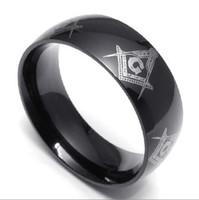 anéis de maçom preto venda por atacado-Clássico 8 MM Novo Aço Inoxidável 316L Pure Black Plated Maçonaria Freemasons Símbolo Anel SZ # 6-15, Livre e Aceito Maçons