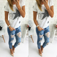 Wholesale cheap woman jeans - Wholesale- 2106 New Arrival Fashion Hot Sale Cheap Womens Skinny Lace Crochet Stretch Denim Slim Jeans Pants Blue Ripped