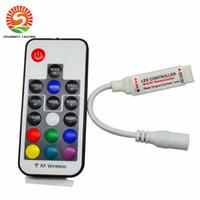 rf controlador led rgb 12v al por mayor-Controlador LED RGB DC5V-24V 12A 17key mini RF Dimmer remoto inalámbrico para 5050 3528 RGB Tira de luz flexible