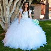 Wholesale White Beaded Ball Gown Quinceanera Dresses Organza Ruffles Tiered Girls Pageant Gowns Cap Sleeves Floor Length Prom Evening Dresses