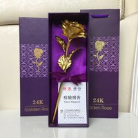 Wholesale Gold Carnation - NEWEST!!! Imitation Golden rose 24K gold foil roses carnations Creative gifts Valentine's day gifts FREE SHIPPING
