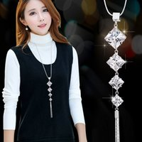 Wholesale Autumn Pendants - Sweater chain long female Korean clothes accessories necklace wild fashion simple autumn and winter crystal pendant jewelry chain