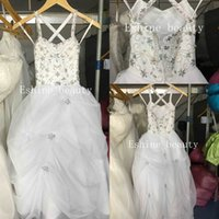 Wholesale Lovely Cute Girl Photos - Cute Lovely Spaghetti Strap Colorful Beading Ball Gown Little Girl Pageant Prom Dresses Flower Girl Dresses