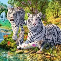Wholesale Tiger Embroidery Fabric - tiger White Tiger DIY Diamond Painting Diamond Embroidery 5D Cross Stitch Crystal Square Unfinish Home Bedroom Wall Art Decor Craft Gift