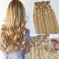 Extensions de cheveux humains Ombre Color Two Tone # 18 Ash Blonde Piano # 613 Light Blonde Clip In Hair Hair Extensions