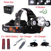 Wholesale High Output Led Lamps - CREE XM-L T6 2R5 LED Headlight 6000LM 4.2V 500mA Output Head Lamp Adjustable Base Waterproof Rechargable