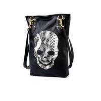 Wholesale Vintage Snakeskin Handbags - Fashion Handbags Trend 2016 Vintage Classic Lady Long Bags Casual Snakeskin PU Leather Bags Messenger Bags Skull Handbag H020