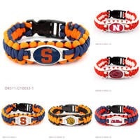 Wholesale Paracord Orange - Paracord Survival Outdoor Camping Bracelets Arkansas Orange Arkansas PB Golden Lions-UAPB Miss Rebels Nebraska Cornhuskers Custom