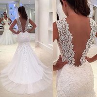 Wholesale Brial Dresses - 2017 Modest Wedding Dresses V Back Full Lace Sheer Strap Mermaid Sweep Train 2016 Wedding Gowns Appliques Tulle Illusion Brial Gowns