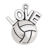En gros Vintage Single Sided Love Volleyball Alliage Sport Charms Lettre Charms 21 * 25mm Drop Shipping AAC175