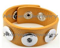 Wholesale Leather Bracelet Music - A20009 OEM ,ODM welcome hot sale noosa bracelet PU noosa button snaps bracelets