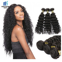 3 Bundles de alta qualidade Brazilian Virgin Hair Weave Deep Wave 9A Unprocessed Remy Extensões de cabelo humano Peruvian Raw Indian Curly Virgin Hair