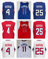Wholesale Rivers Blue - Cheap #4 J.J. Redick Blue White Black Red Embroidered Stitched 11 Jamal Crawford Basketball Jerseys 25 Austin Rivers Mix Order Free Shippin