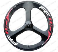 ruedas fijas al por mayor-Fast Forward 700C bicicleta de carretera tri-spoke ruedas de carbono 56mm clincher rueda de engranaje fija alta calidad clincher para Time / Trial Bike Wheel