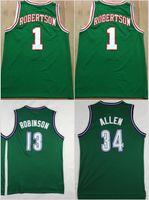 Wholesale Dogs Shirt - Throwback Basketball Jerseys Retro 1 Oscar Robertson Big O 34 Ray Allen 13 Glenn Robinson Big Dog Stitched Shirts Basketball Jersey MENS
