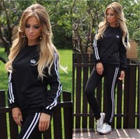 Wholesale Tennis Suits Girls - Leisure Sports Clothing Lady Sportswear Women Suit Set 2017 Fashion Female Girls Clothes Girls Long-Sleeved Casual Suit ouc072