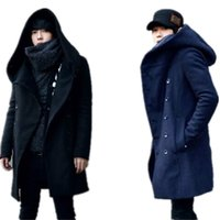 Wholesale Woollen Caps Men - Wholesale- wool & blends men's autumn winter double-breasted coat more men long woollen coat cultivate one's morality even cap trench coat